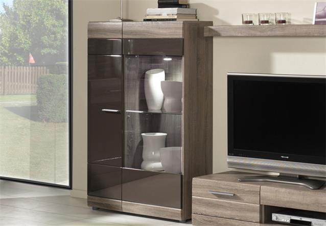 wohnwand carero 1 anbauwand sonoma eiche dunkel und braun hochglanz ebay. Black Bedroom Furniture Sets. Home Design Ideas