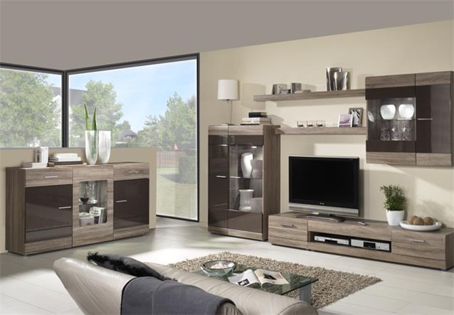 Sideboard carero wohnzimmer schrank sonoma eiche dunkel for Wohnzimmer zu dunkel