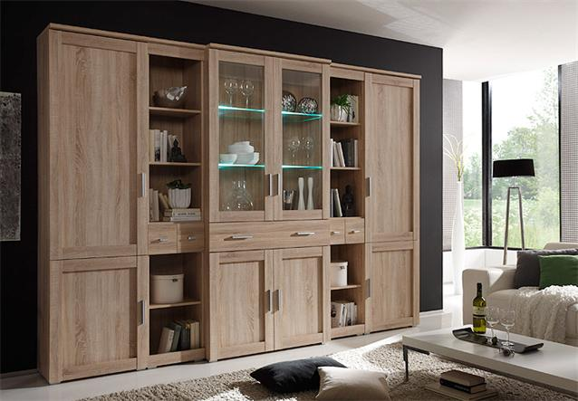 wohnwand aristo 3 anbauwand wohnzimmer sonoma eiche magnolia wendef llung ebay. Black Bedroom Furniture Sets. Home Design Ideas
