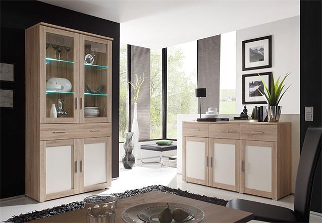 vitrine aristo buffet highboard schrank sonoma eiche magnolia wendef llung ebay. Black Bedroom Furniture Sets. Home Design Ideas