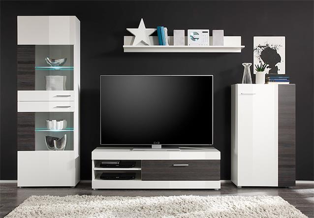 wohnwand mirage anbauwand wohnkombi wohnzimmer in wei und wenge ebay. Black Bedroom Furniture Sets. Home Design Ideas