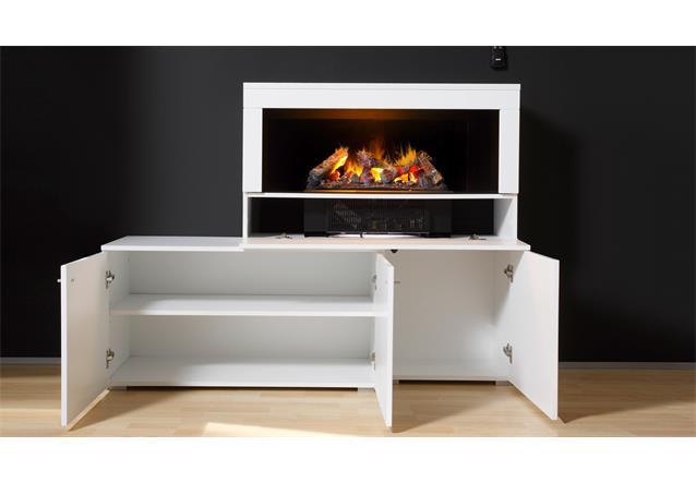 wohnwand 2 camino anbauwand wohnzimmer in wei hochglanz mit kamin. Black Bedroom Furniture Sets. Home Design Ideas