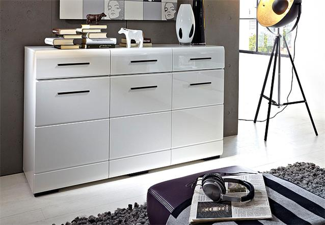 Moderne Wohnwand Mit Led Beleuchtung :  about Wohnwand Hit MDF weiß hochglanz Anbauwand mit LED Beleuchtung