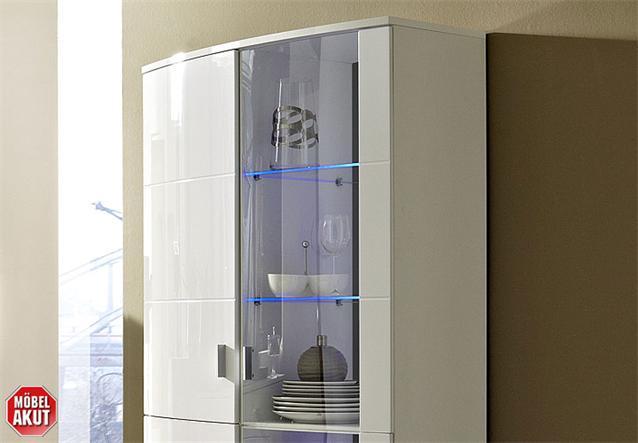 vitrine kensas schrank in wei hochglanz schwarz led neu ebay. Black Bedroom Furniture Sets. Home Design Ideas