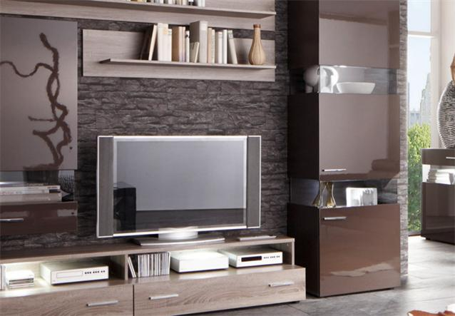wohnwand jersey iii anbauwand schwarz braun sonoma eiche inkl led ebay. Black Bedroom Furniture Sets. Home Design Ideas