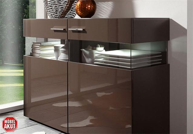 sideboard jersey kommode in schwarz braun hochglanz inkl led ebay. Black Bedroom Furniture Sets. Home Design Ideas