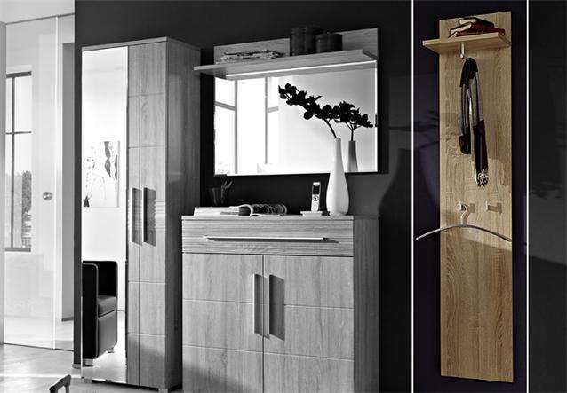 garderobenpaneel point garderobe paneel in sonoma eiche s gerau hell ebay. Black Bedroom Furniture Sets. Home Design Ideas