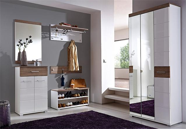 schuhbank malo lowboard schuhschrank wei hochglanz sonoma eiche s gerau ebay. Black Bedroom Furniture Sets. Home Design Ideas