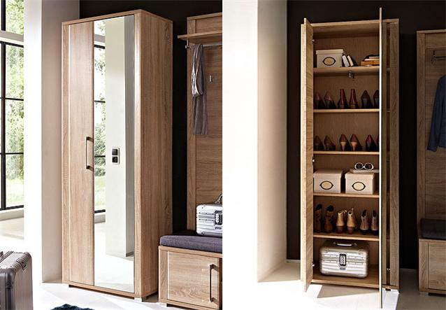 garderobenschrank go flurm bel in eiche sonoma hell dekor und mdf ebay. Black Bedroom Furniture Sets. Home Design Ideas