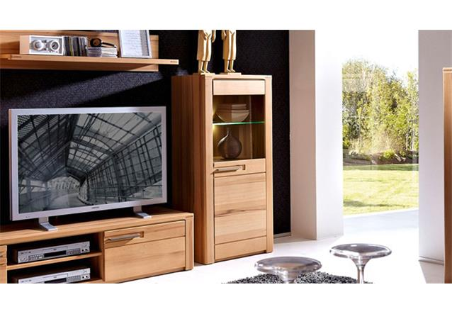vitrine rechts nature plus schrank 60 cm breit kernbuche massiv lackiert mit led ebay. Black Bedroom Furniture Sets. Home Design Ideas