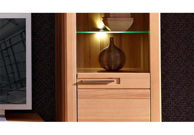 vitrine rechts nature plus schrank 60 cm breit kernbuche massiv lackiert mit led ebay. Black Bedroom Furniture Sets. Home Design Ideas