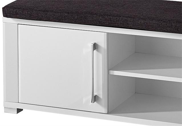 bank go garderobenbank inkl sitzkissen in wei hochglanz mdf neu ebay. Black Bedroom Furniture Sets. Home Design Ideas