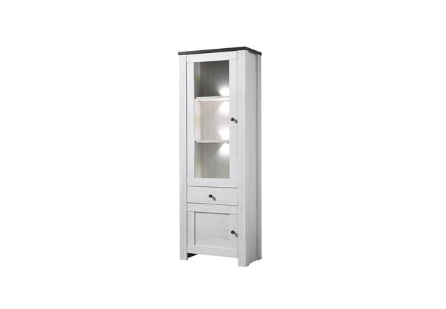 vitrine antwerpen 2 schrank wohnzimmerschrank in l rche pinie dunkel inkl led ebay. Black Bedroom Furniture Sets. Home Design Ideas