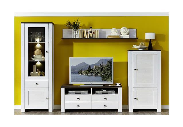 vitrine antwerpen 2 schrank wohnzimmerschrank in l rche pinie dunkel inkl led. Black Bedroom Furniture Sets. Home Design Ideas