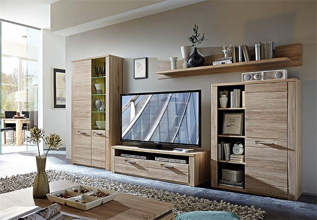 wohnwand provence anbauwand wohnzimmer in san remo eiche. Black Bedroom Furniture Sets. Home Design Ideas