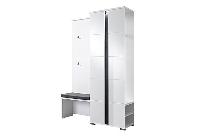garderobe spot set 3 teilig wei hochglanz mit schuhbank schuhschrank und led. Black Bedroom Furniture Sets. Home Design Ideas