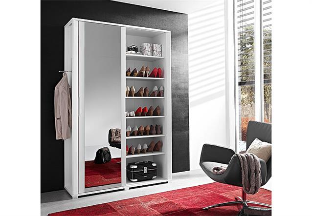 garderobenschrank 2 fine schuhschrank in wei hochglanz mit spiegel ebay. Black Bedroom Furniture Sets. Home Design Ideas