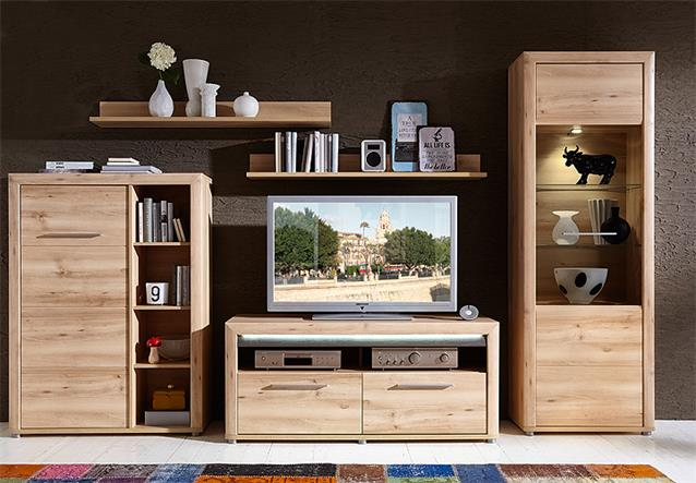wohnwand 2 run anbauwand wohnkombi wohnzimmer buche hell inkl led ebay. Black Bedroom Furniture Sets. Home Design Ideas