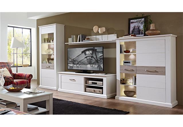 wohnwand 1 modena anbauwand wohnkombi wohnzimmer pinie hell taupe inkl led ebay. Black Bedroom Furniture Sets. Home Design Ideas
