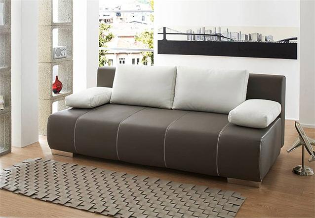 schlafsofa tommy sofa in braun mit bettfunktion inkl kissen ebay. Black Bedroom Furniture Sets. Home Design Ideas