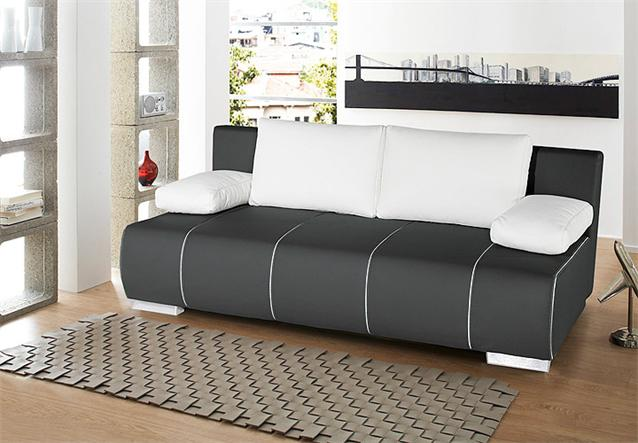 schlafsofa tommy sofa in schwarz lederlook mit bettfunktion. Black Bedroom Furniture Sets. Home Design Ideas