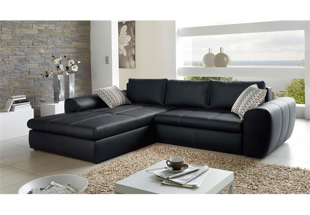 Wohnlandschaft cascada sofa mit ottomane in schwarz mit for Schwarze wohnlandschaft