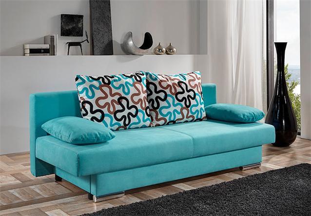 modernes schlafsofa tiffany sofa in t rkis inkl 4 kissen ebay. Black Bedroom Furniture Sets. Home Design Ideas