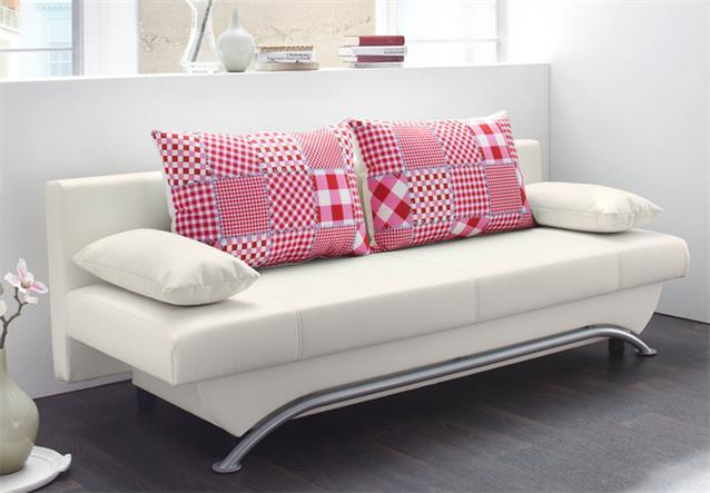 schlafsofa nancy sofa funktionssofa in wei rosa und rot inklusive 4 kissen ebay. Black Bedroom Furniture Sets. Home Design Ideas