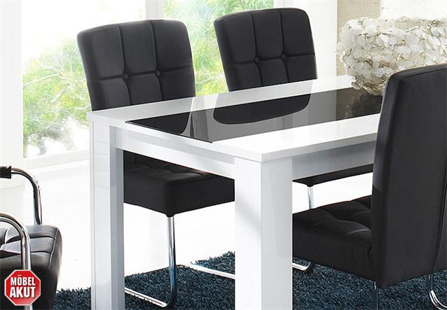 esstisch buno tisch in wei hochglanz schwarz glas. Black Bedroom Furniture Sets. Home Design Ideas