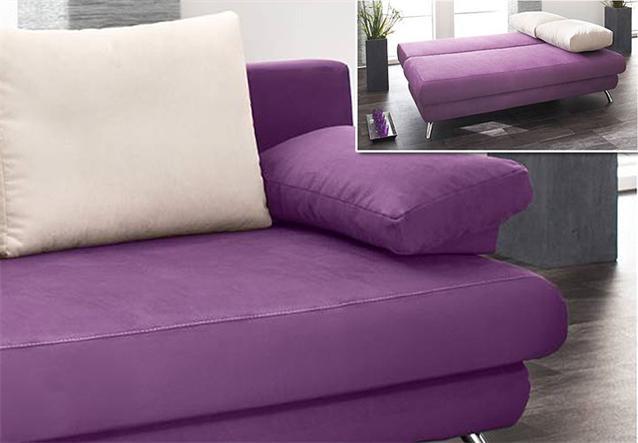 schlafsofa aldo mit bettfunktion sofa in lila natur neu ebay. Black Bedroom Furniture Sets. Home Design Ideas