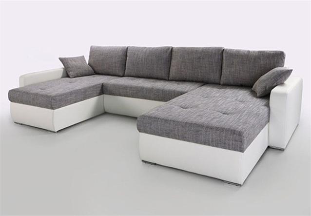 Wohnlandschaft estelle ecksofa sofa in wei grau mit for Wohnlandschaft b ware