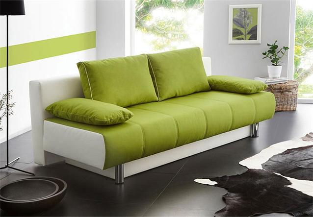 schlafsofa santorin sofa funktionssofa mit bettkasten in gr n und wei. Black Bedroom Furniture Sets. Home Design Ideas
