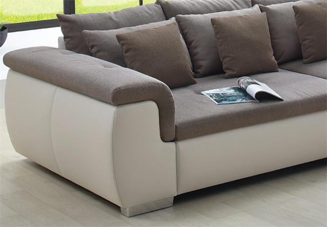 big sofa big point sofa creme webstoff beige braun ebay. Black Bedroom Furniture Sets. Home Design Ideas