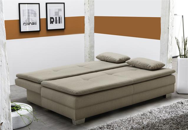 funktionssofa florenz schlafsofa dauerschl fer in stoff cappuccino 160x200 ebay. Black Bedroom Furniture Sets. Home Design Ideas