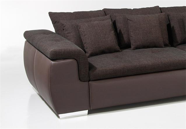 details zu big sofa big point sofa in webstoff braun mit kissen. Black Bedroom Furniture Sets. Home Design Ideas