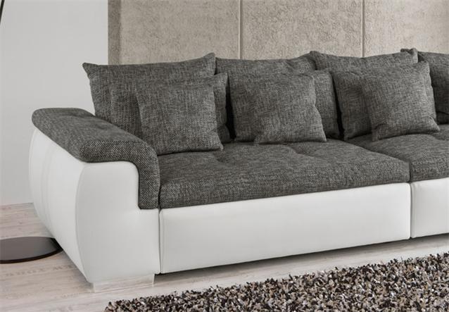 big sofa big point sofa weiss webstoff anthrazit ebay. Black Bedroom Furniture Sets. Home Design Ideas