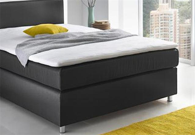 boxspringbett toca bett schlafzimmerbett stoff in schwarz topper 140x200 cm ebay. Black Bedroom Furniture Sets. Home Design Ideas