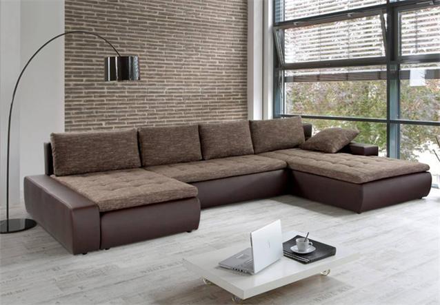 Wohnlandschaft panamera in braun und stoff braun sofa mit for Wohnlandschaft ebay