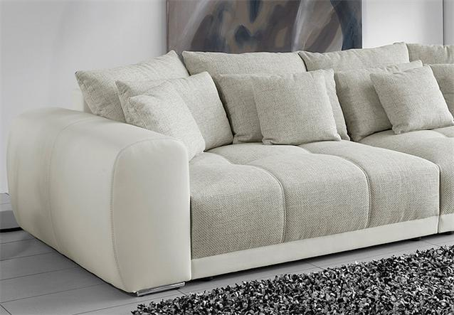 big sofa sam polsterm bel xxl sofa in wei grau und beige 310 cm. Black Bedroom Furniture Sets. Home Design Ideas
