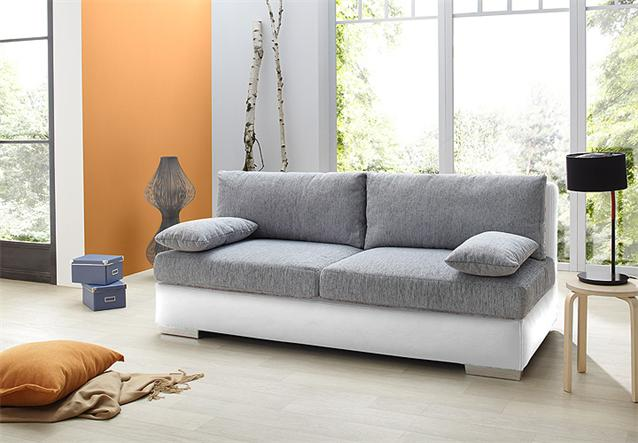 schlafsofa dorset sofa dauerschl fer in wei und grau mit bettkasten kissen ebay. Black Bedroom Furniture Sets. Home Design Ideas