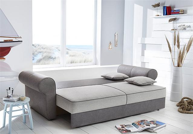 schlafsofa landini sofa dauerschl fer mit bettkasten und kissen in grau beige ebay. Black Bedroom Furniture Sets. Home Design Ideas