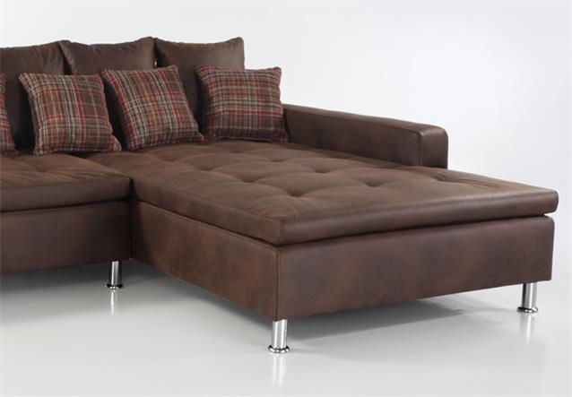 Wohnlandschaft montego sofa ecksofa mit ottomane antiklederoptik braun ebay - Sofa antiklederoptik ...