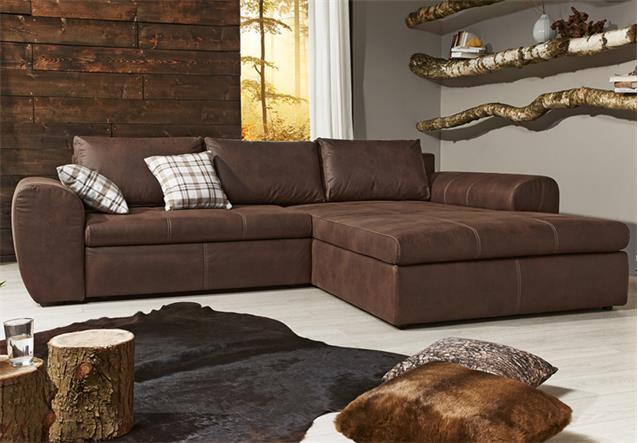 Wohnlandschaft cascada sofa mit ottomane in antik braun for Wohnlandschaft ebay