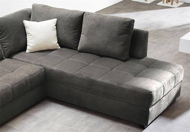 wohnlandschaft aura ecksofa in microfaser grau mit g stebett und bettkasten ebay. Black Bedroom Furniture Sets. Home Design Ideas