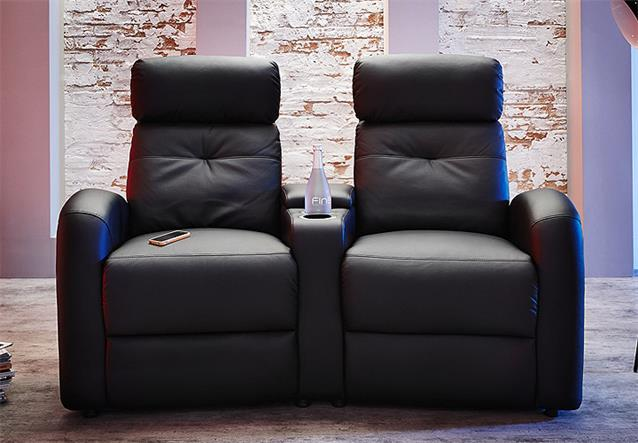 sofa houston cinema 2er kinosessel heimkino kinosofa schwarz mit getr nkehalter ebay. Black Bedroom Furniture Sets. Home Design Ideas