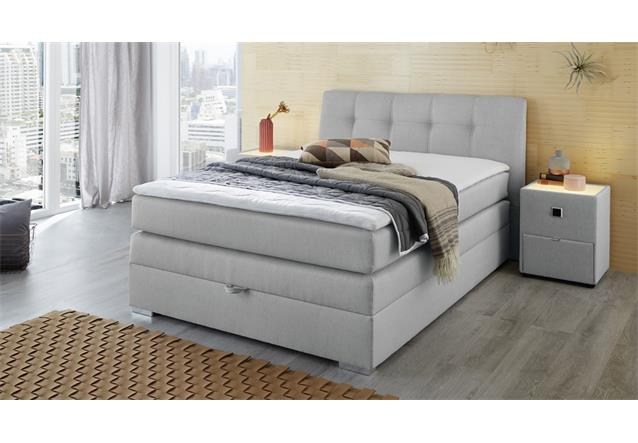 boxspringbett amelie 140 in hellgrau mit bettkasten topper bett bonell federkern ebay. Black Bedroom Furniture Sets. Home Design Ideas
