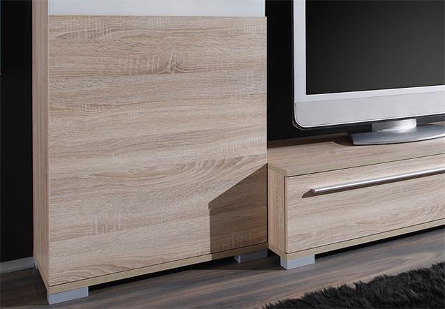wohnwand jazz anbauwand in eiche sonoma dekor und rahmen lack wei ebay. Black Bedroom Furniture Sets. Home Design Ideas