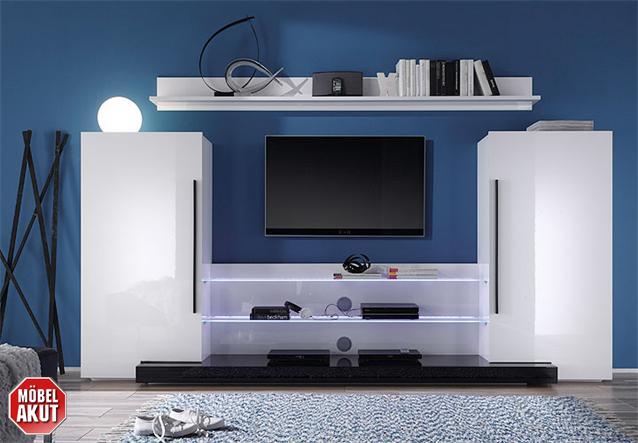 Moderne Wohnwand Twin : Pin Details Zu Design Wohnwand Twin Schwarz Highgloss Schrankwand Tv