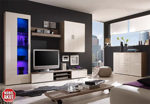 wohnwand 1 shadow anbauwand in eiche tr ffel magnolie creme hochglanz tiefzieh ebay. Black Bedroom Furniture Sets. Home Design Ideas