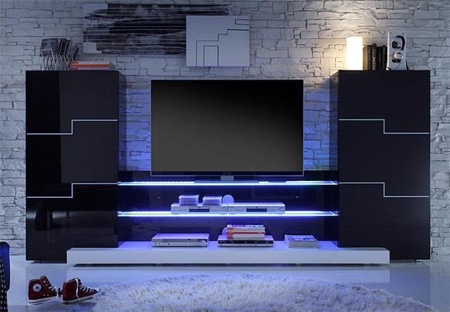 wohnwand twin wohnzimmer anbauwand in schwarz und wei hochglanz lack ebay. Black Bedroom Furniture Sets. Home Design Ideas